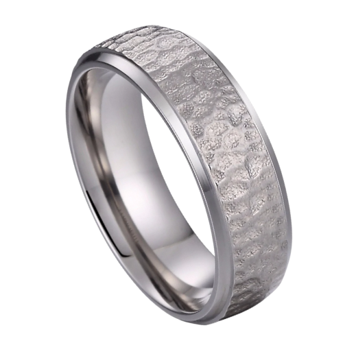 Silver Titanium Ring for Men - Hammered Effect Finish