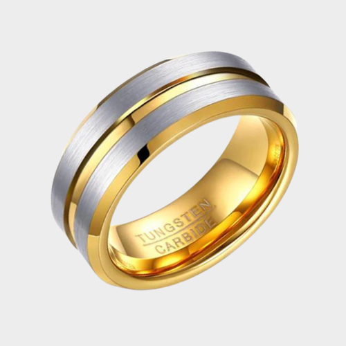 Gold Ring for Men with Brushed Silver Raised Sections