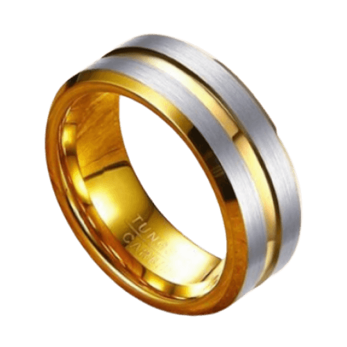 Tungsten Ring for Men - Gold and Brushed Silver