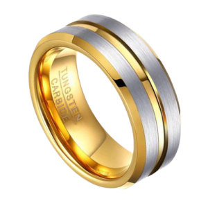 Gold and Brushed Silver Ring for Men