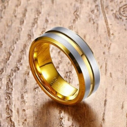 Gold and Silver Ring for Men - Tungsten Carbide