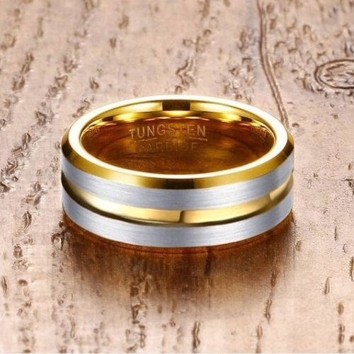 Gold Ring for Men with Brushed Silver Sections - Tungsten Carbide