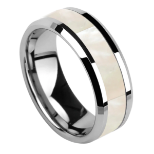 Silver Tungsten and Mother of Pearl Ring for Men