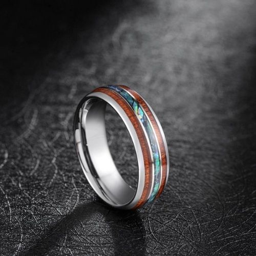 Silver tungsten ring with abalone shell and wood inlays