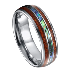Men's Tungsten Carbide Ring with Natural Wood and Abalone Shell