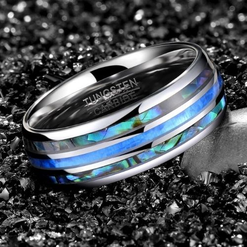 Abalone Shell and Blue Fire Opal Ring for Men set within Tungsten Carbide