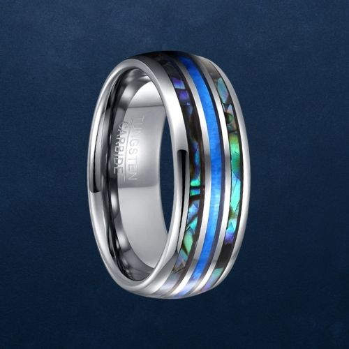 Tungsten Carbide Ring for Men with Abalone Shell and Blue Fire Opal