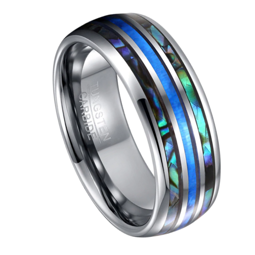 Ring for Men featuring Silver Tungsten, Abalone Shell, and Blue Fire Opal