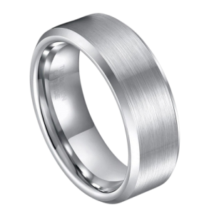 Brushed Silver Ring for Men with Polished Silver Edges