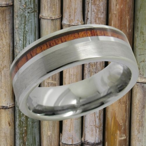 Brushed Silver and Wood Tungsten Ring for Men