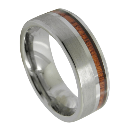 Silver Tungsten and Natural Wood Ring for Men
