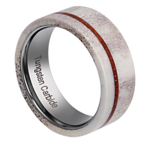 A mens tungsten ring made with naturally shed deer antler and a groove of koa wood