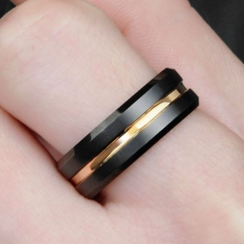 Black Ring with Gold Centre Ring for Men