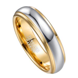 Silver and Gold Men's Tungsten Ring