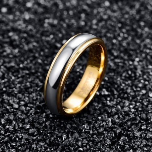 Silver and Gold Tungsten Ring for Men