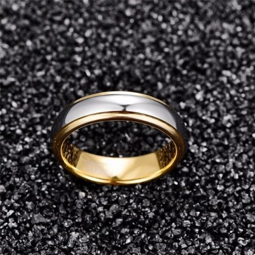Unique Mens Wedding Band with Silver and Gold Tungsten