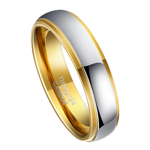 Silver and Gold Ring for Men - Tungsten Carbide