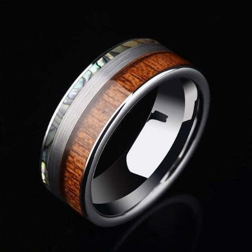 Silver Tungsten Men's Ring with Natural Wood and Abalone Shell