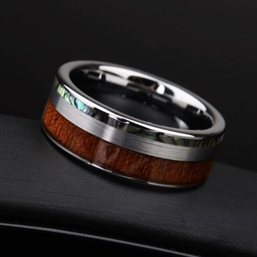 Tungsten Carbide Ring for Men with Wood and Abalone Shell