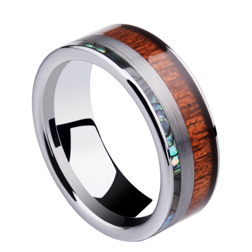 Silver mens tungsten ring
