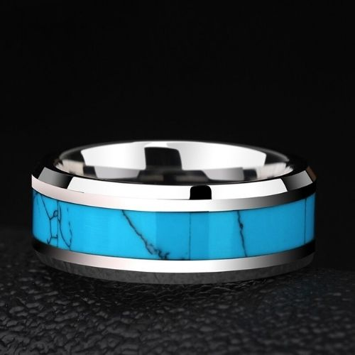Shining Silver and Blue Ring for Men