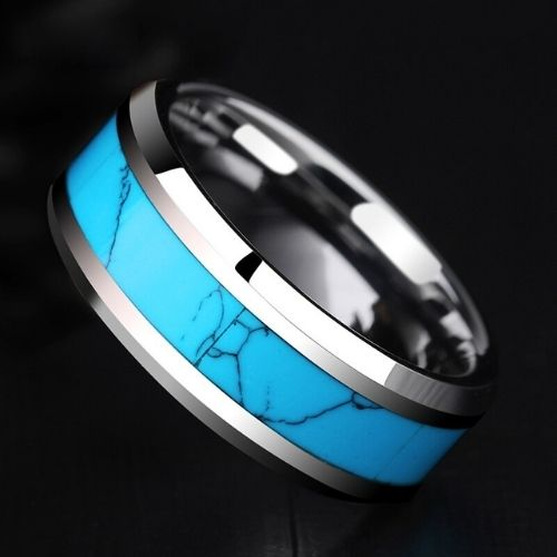 Silver and Blue Tungsten Carbide Ring for Men