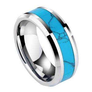 Silver and Blue Tungsten Ring for Men