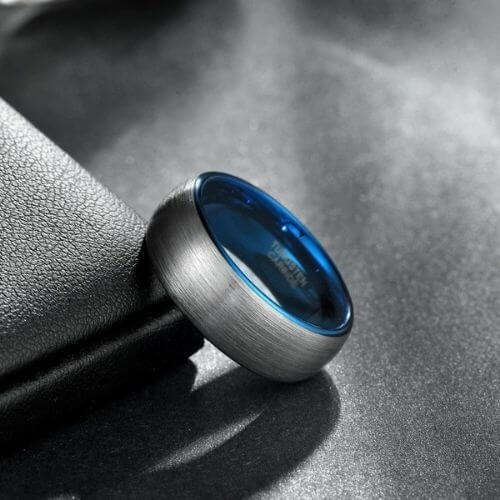Brushed Silver Tungsten Ring for Men with Blue Rims and Inside