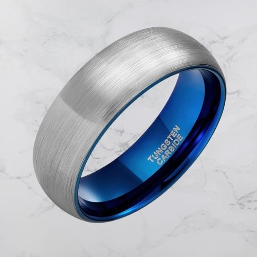 Brushed Silver and Polished Blue Ring for Men