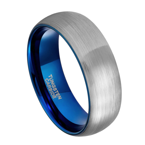 Brushed Silver and Blue Tungsten Ring for Men