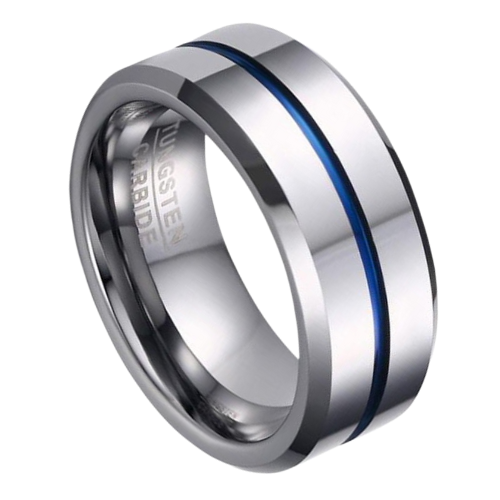 Silver Tungsten Ring with Groove of Blue