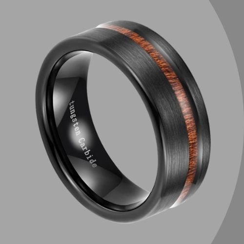 Brushed Matte Black Men's Ring with Groove of Natural Wood