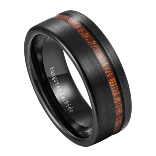 Men's Ring - Brushed Matte Black Ring with Groove of Natural Wood