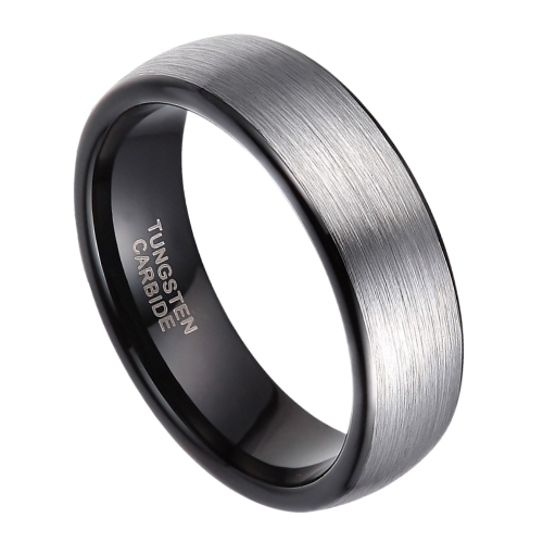 Brushed Silver Tungsten Ring for Men with Black Edges and Inside