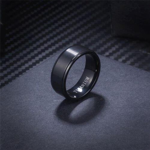 Titanium ring for men in black