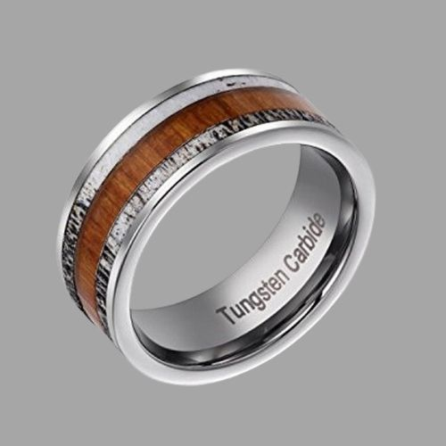 Silver Tungsten Ring with Inlays of Natural Wood and Naturally Shed Deer Antler