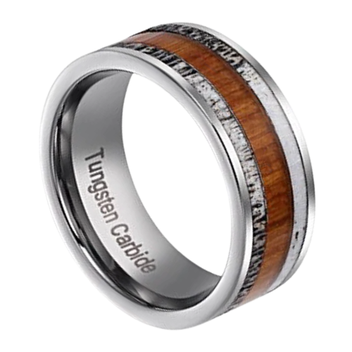 Mens Silver Tungsten Carbide Ring with Natural Wood and Antler Bone