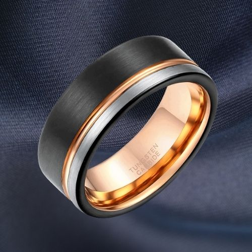 Tungsten Carbide Ring for Men - Black, Silver, and Rose Gold