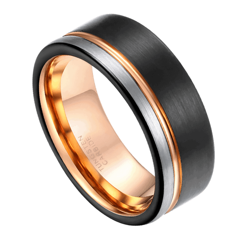 Black, Silver, and Rose Gold Tungsten Ring for Men
