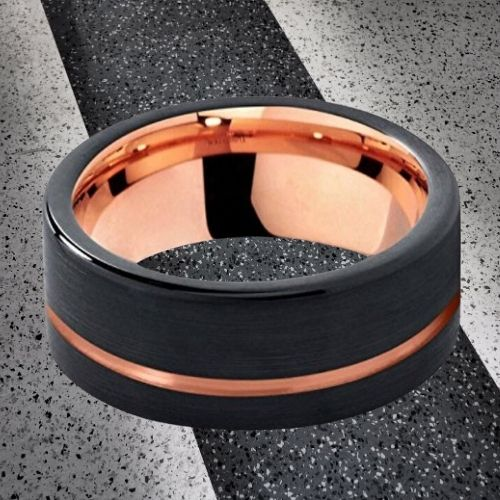 Brushed Black Ring for Men with Groove of Rose Gold and Rose Gold Inside