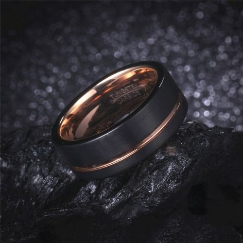 Tungsten Carbide Ring for Men - Black and Rose Gold