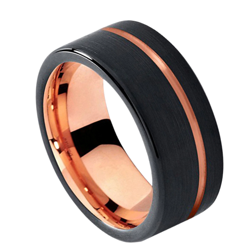 Black Ring with Rose Gold Pipe Cut, Ring for Men