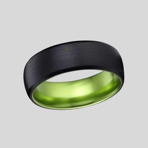 Brushed Black and Vibrant Green Ring for Men