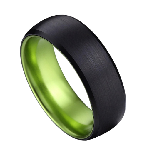 Brushed Black Tungsten Ring for Men with Vivid Green Inside