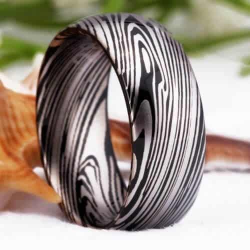 Damascus Steel Pattern on a Men's Tungsten Ring