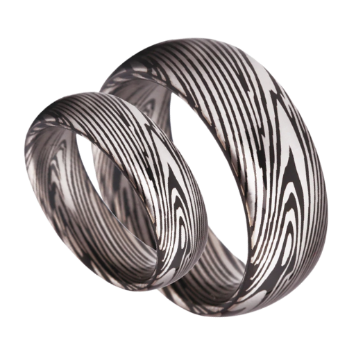 Tungsten Carbide Mens Ring with Damascus steel pattern