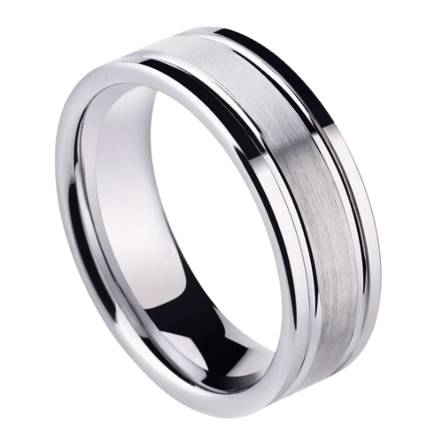 A gleaming silver tungsten ring for men
