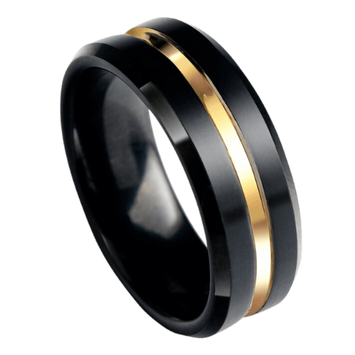 Black Ring for Men with Groove of Gold