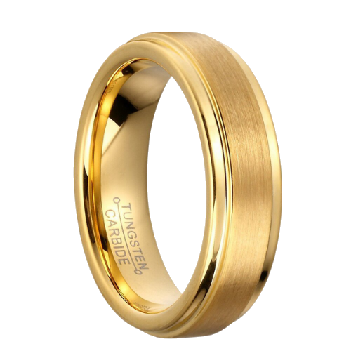 Tungsten ring for men - gold