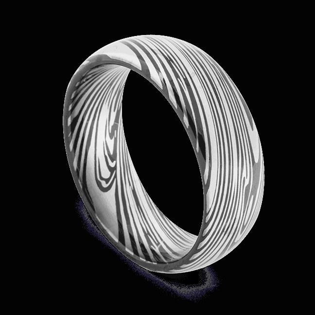 Men's Tungsten Ring featuring Damascus Steel Pattern